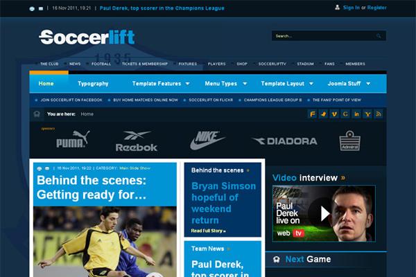 BT Soccerlift v25 interesting joomla template for news and