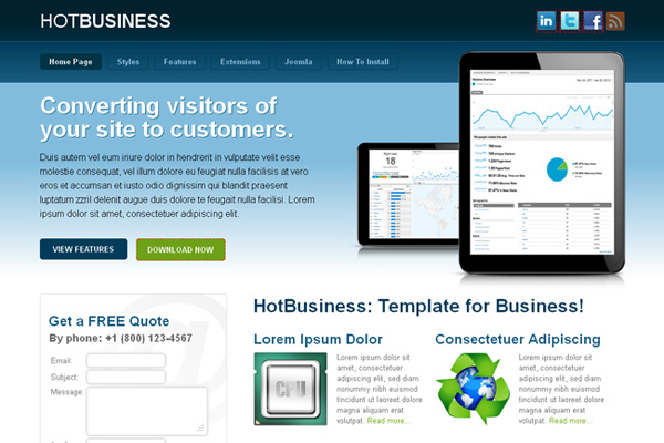 Hot business v30 professional joomla template for business websites hot business elegant and modern layout it is ideally designed for hotjoomla design company websites such as business corporate business cards and other flashek Image collections