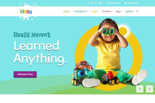Creative joomla template for kindergarten and kids play center.