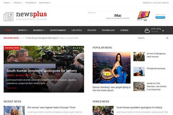 js newsplus joomla template