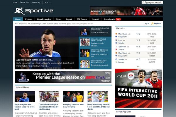Tema joomla #65818 per un sito di notizie sportive.