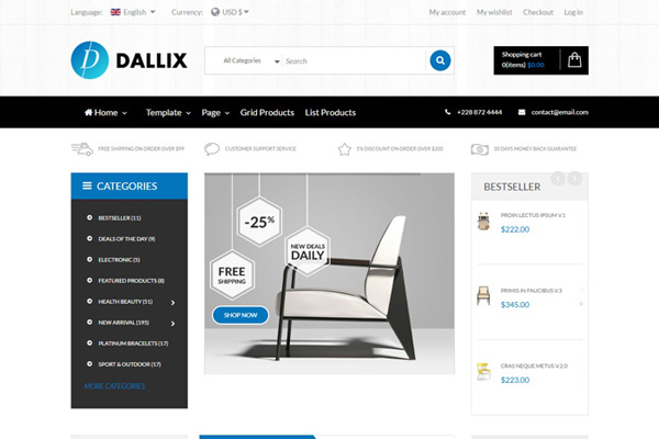 Vina Dallix v1.0 - clean, online shops, virtuemart joomla template